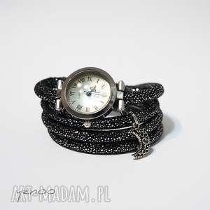 Prezent Zegarek, bransoletka - Księżyc - owijany, czarno - srebrny,