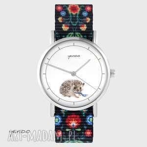 yenoo zegarek - jeżyk folk czarny, nato, zegarek, bransoletka, jeż, folkowy