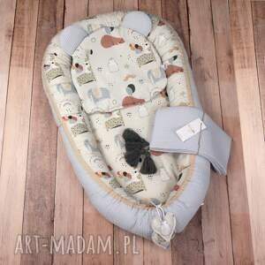handmade pokoik dziecka zestaw niemowlęcy wafel kokon poduszka kocyk 3el. Misie