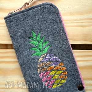 etui filcowe na telefon - ananas, smartfon, pokrowiec, futerał, ananas