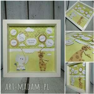 Metryczka żyrafkowo-słonikowa, metryczka, chrzest, narodziny, urodziny, żyrafa