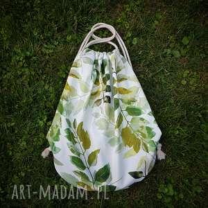 plecak worek xl - ,plecak,worek,liście,torba,skóra,etno,