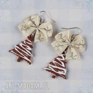 świąteczne kolczyki ciastka choinki pierniki, kolczyki, modelina