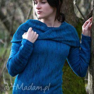 ciemnoniebieski, melanżowy sweter z kominem - arthermina, sweter, komin, melanż