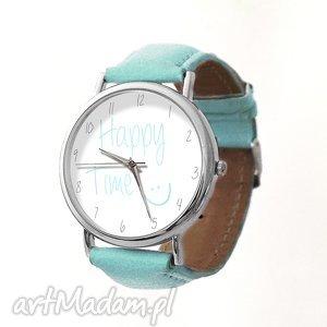 happy time - skórzany zegarek z dużą tarczą - szczęście