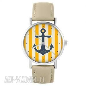 zegarek - kotwica, żółta skórzany, beżowy, zegarek, pasek