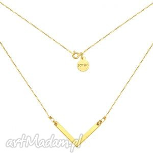 złoty naszyjnik z zawieszką v - łańcuszek, pozłacany