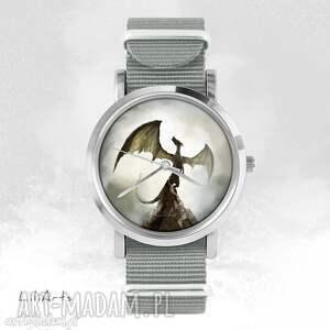 Prezent Zegarek, bransoletka - Smok cienia szary, nato, zegarek, bransoletka, nato
