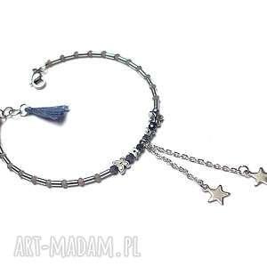 Alloys Collection /sapphire star/ -bransoletka, stal-szlachetna, hematyty, szafir
