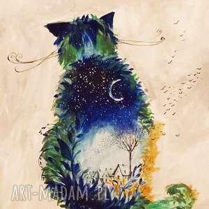 obrazy akryl na płótnie, obraz kot nocny, obraz, akryl, płótno, kot, ptaki, noc