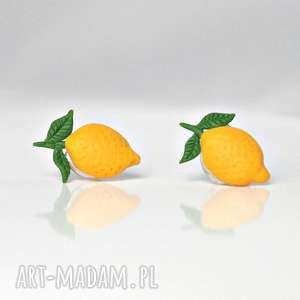 Cytryny - kolczyki wkręty, cytryna, eko, owoce, warzywa, cytrynki