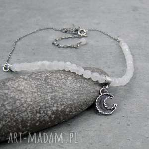 Moon charm necklace with moonstone, romantyczny, księżyc, boho, vintage, charms,