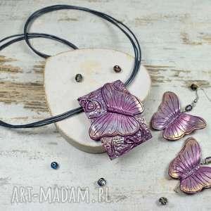 kameleon komplet biżuterii motyle, biżuteria motyl, kolczyki motyle