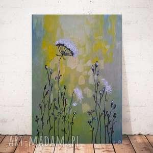 abstrakcyjna łąka w zieleniach- obraz akrylowy formatu 20/30 cm, abstrakcja, akryl