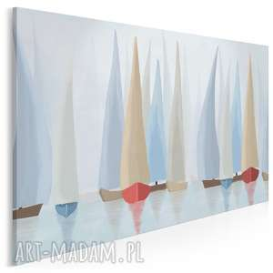 obraz na płótnie - żaglówki regaty pastelowy 120x80 cm 81801, żaglówki, żaglówka