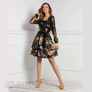 sukienki sukienka wendy mini aronnia, mini, rozkloszowana, kwiaty, dekolt