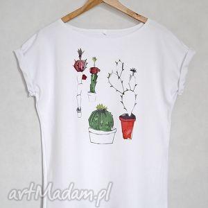 KAKTUSY koszulka bawełniana biała L/XL, koszulka, bluzka, bawełna, bawełniana, kaktus