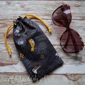 handmade etui / bawełniany woreczek na okulary - tukany:)
