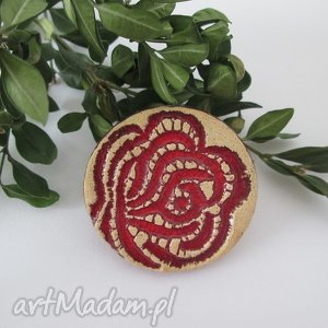 różana broszka - ,broszka,ceramiczna,róża,