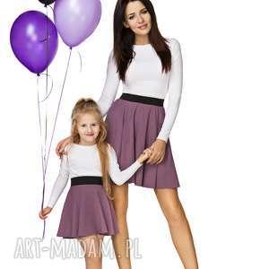 komplet dla may i córki - spódnica z koła na gumie, fioletowy, spódnica, na, gumie