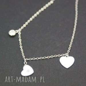 naszyjnik srebrny serduszka, naszyjnik, srebrny, serca, walentynki, celebrytka