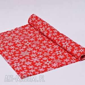 dekoracje bieżnik świąteczny bawełniany śnieżki czerwone, ozdoba