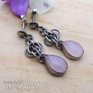 kwarc różowy w kropelce, srebro kolczyki, kolczyki sztyfty, chainmaille