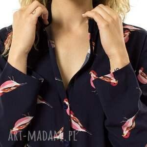 Koszula damska z motywem ptaków, luźna, swobodna, koszula, zapinana, guziki, ptaki