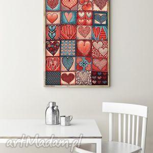 pod choinkę prezent, grafika plakat 60x80cm, serca, serduszka, walentynki, miłość
