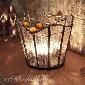 lampion witrażowy amber, lampion, świecznik, witraż, bursztyny