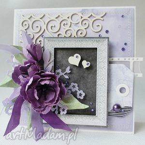 fiolet i grafit - w pudełku - ślub, rocznica, gratulacje, podziękowania