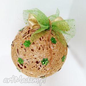 hand-made dekoracje kordonkowa bombka - złoto i zieleń