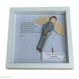 anioł stróż płaskorzeźba prezent dla chłopca na chrzest i komunię świętą