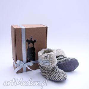 bambosze hand made wełna jasny baranek, papcie, prezent, choinkę, niemowlę, abs