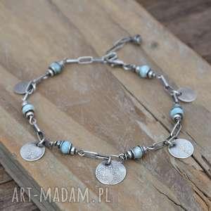 handmade bransoletki larimar i srebrne pastylki. bransoletka