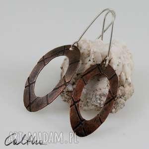 kratki - miedziane kolczyki 131019-02, kolczyki, klipsy, miedziane, wiszące