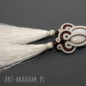 klipsy sutasz z masą perłową, sznurek, eleganckie, wiszące, wieczorowe, długie