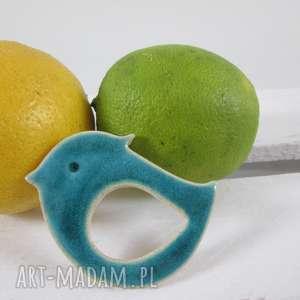 turkusowy ptaszek broszka, ceramiczna, z-gliny, ptak, ptaszek, niebieski