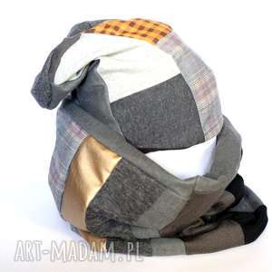 komplet damski patchworkowy, komplet, komin, etno, czapka, kratka, boho