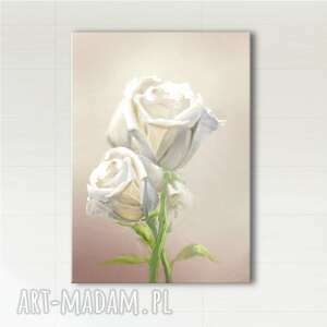 obraz - kremowe róże wydruk na płótnie, obraz, kwiaty, róże, róża, płótno