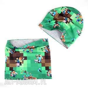 Prezent Minecraft zestaw dla dziecka komin czapka dwustronny, komin, czapka,