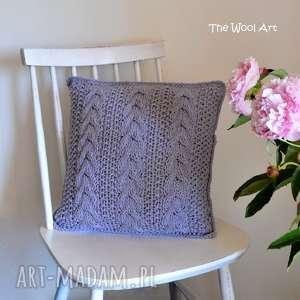 poduszki dziergana dekoracyjna poszewka, poduszka, kaszmir, na drutach