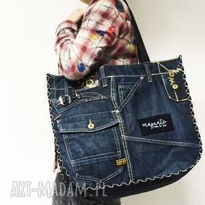 na ramię duża torba upcykling jeans 18 g-star od majunto, g star, gstar