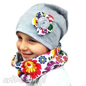kolorowy komplet - czapka i komin bukiet pasji - prezent, szalik