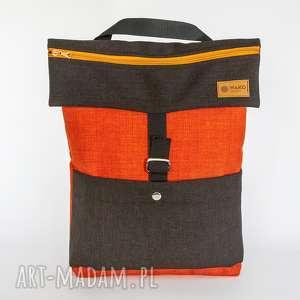 handmade plecaki plrcako-torba pomarańcz z ciemnym