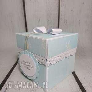 Prezent Exploding box / eksplodujące pudełeczko w błękicie z kwiatkami, komunia