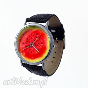 Arbuz - Skórzany zegarek z dużą tarczą, arbuz, owocowy, zegarek, lato, owoce