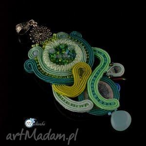 Zielono-turkusowy wisior sutasz - ,sutasz,soutache,bogaty,