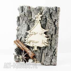kartka bożonarodzeniowa drewno, życzenia, bożenarodzenie