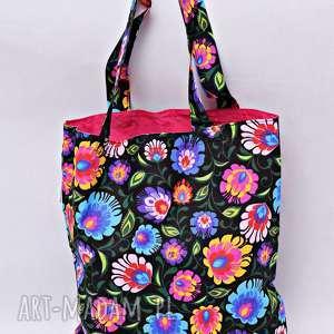 Torba na zakupy Shopperka czarny łowicz różowa podszewka, torba, shopperka,